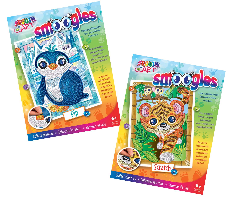 Sequin Art Smoogles craft kits - Penguin Pip & Tiger Scratch