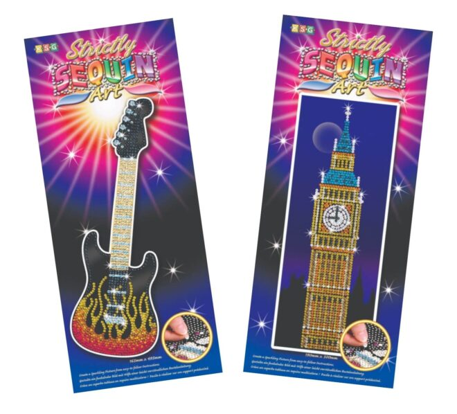 Sequin Art great value crafts bundle featuring Guitar and Bic Ben pictures