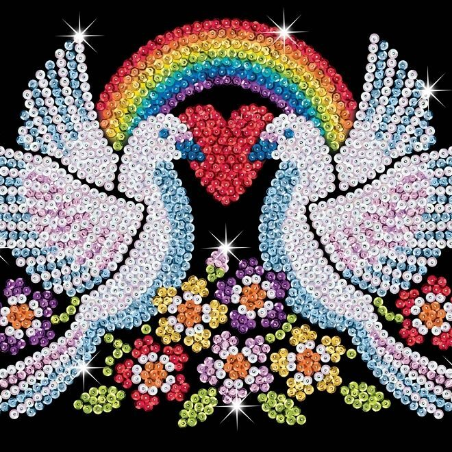 Sequin Art Doves of Hope creative activity for children and adults