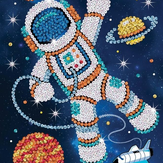 Sequin Art Jemma the Astronaut craft project