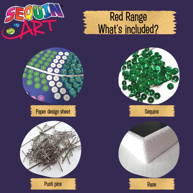 Sequin Art Red Range craft kit contents
