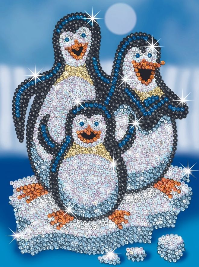 Sequin Art penguins creative activity for kids and adults
